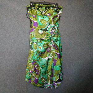 Strapless Asymmetrical Front Slit Midi Silk Dress